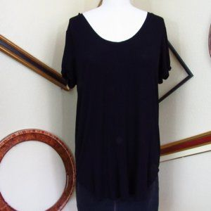 Cupio Black Fluid Short Sleeve Tunic Tee Size L